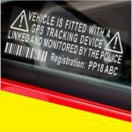 4 x Dummy Fake GPS PERSONALISED Stickers-Tracker Device Security Alarm System Warning Window-REGISTRATION Number Printed-Police Monitored Sign-Car