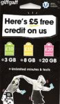 Giffgaff Multi Sim (Standard/Micro & Nano). £5 Bonus Credit Added When You Topup £10 First Time. Unlimited Calls