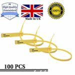 100 Made in UK High Quality Security Tags Numbered Pull Ties Secure Anti-Tamper Seals Number Tags Security Seals Tamper Tags Security Cable Ties Plastic Ties (Yellow