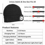 Unisex Winter Knitted Hat with LED Flashlight for Hiking
