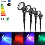 Set of 4 lights RGB Remote Control Garden Landscape Light with Spike Underwater Aquarium Fish Tank Light LED Pond Spotlight Submarine Projector Lamp UK Plug IP68