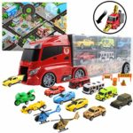 deAO Transporter Truck Carrycase for Cars Play Set Carrier Including a Total of 12 Assorted Vehicles