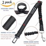Adjustable Safety Heavy Duty elastic Leads Harness for Cars with Elastic Nylon Bungee Buffer to prevent your puppy from shock attenuation(Black)