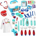 JOYIN Toy Kids Doctor Kit 31 Pieces Pretend-n-Play Dentist Medical Kit with Electronic Stethoscope and Coat for Kids