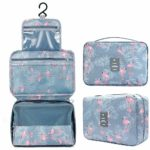 Astory Waterproof Cosmetic Bag Makeup Travel Organizer Folding Portable Wash Bag for Women and Girls (Flamingo)