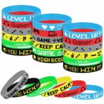 TUPARKA 18 Pcs Video Game Wristbands Rubber Bracelet Game Party Wristbands Supplies for Birthday Party Baby Shower Party Favors