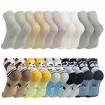 Rovtop 10 Pairs Women's Cotton Socks Ladies Socks Set - 5 Pairs Cute Puppy Animal Feet Socks and 5 Pairs Macarons Colors Cotton Women's Socks(EU 37-42)