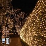 3M X 2M 200LED Net Fairy String Light Outdoor Fairy Light Plug in Mesh Tree Light Twinkle 8Mode Connectable for Tree-wrap Garden Balcony Xmas Decor(Warm White)