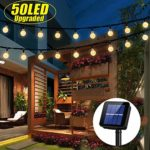 iihome 50 LED Solar String Lights Outdoor Waterproof Solar-Powered Crystal Ball Decorative Lights for Garden