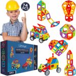 Limmys Magnetic Building Blocks – Unique Travel Series Construction Toys for Boys and Girls – STEM Educational Toy is a Perfect Gift – Includes 74 Pieces and an Idea Book