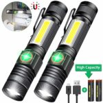 iToncs Magnetic LED Torch Super Bright COB Flashlight Torches USB Rechargeable for Camping [2 Pack]