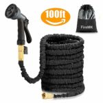 Garden Hose FireMK black 100FT Stronger Double Latex Inner Hose Pipe Tube Solid Brass Prevent Leaking Strongest Expandable (With Valve) Garden Water Hose with Extra Strength Fabric and Professiona …