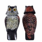 Frofine Defenders Wind Action Owl With 360 Rotating Head Scares Birds/Pigeon/Seagull/Crow Owl Plastic Realistic Owl Statues Garden Outdoors Owl Patio Décor Owl Yard Lawn Owl