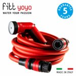 FITT YOYO UP Extendable and Flexible Garden Water Hose Pipe with Multi-Function Spray Gun and Hook Support for Fences
