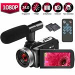 Camcorder Video Camera HD 1080P 25FPS Digital Vlogging Camera 24.0MP Self-timer Camcorder with Remote Control Microphone and Webcam Function